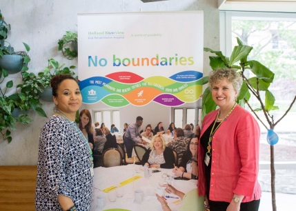 Julia Hanigsberg, President and CEO of Holland Bloorview with Alifa Khan, Family Leader